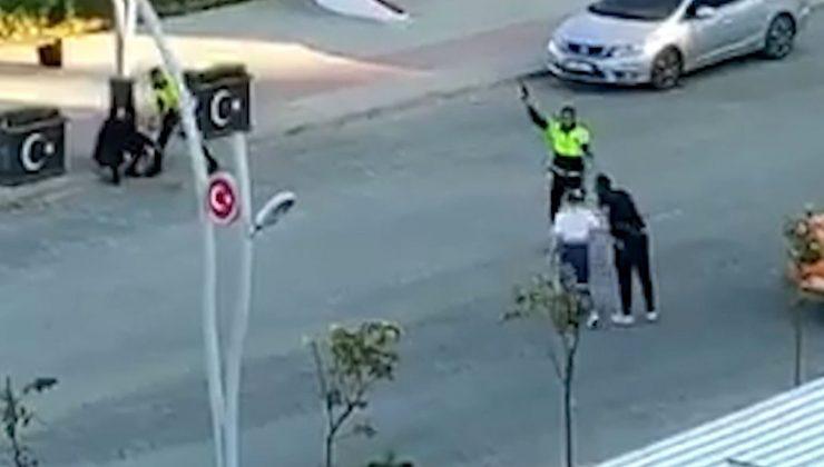 Polis kavgayı durdurmak için havaya ateş açtı, o anlar kamerada