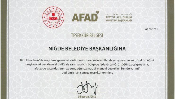 Süleyman Soylu'dan Niğde Belediyesi'ne Teşekkür