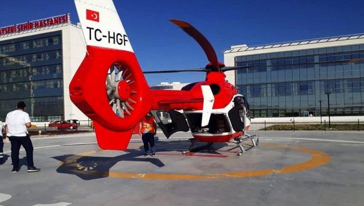 Kalp hastasının imdadına helikopter ambulans yetişti